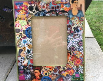 Decoupaged Picture Frame - Day of the Dead