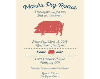 BBQ Invitation - Pig Roast Invitation