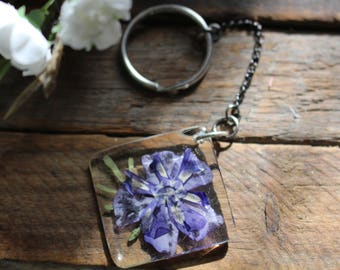 Purple Wildflower Key Chain