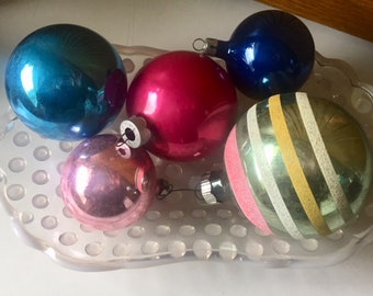 Five vintage Mercury glass ornaments