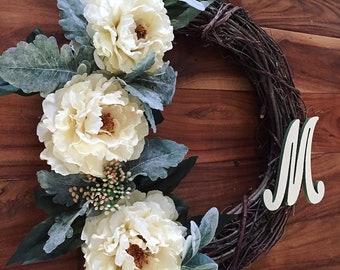 Peony and lambs ear monogrammed grape vine wreath