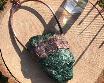 Malachite electroformed copper pendant and chain