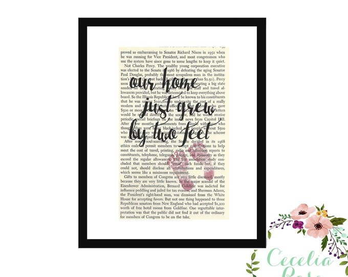 Our Home Just Grew By Two Feet Baby Girl Pink Book Page Art Box Frame or Print Vintage Book Art Nursery Room Decor Farmhouse Style