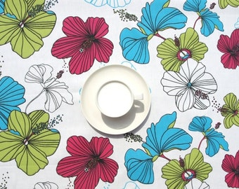 Tablecloth white red turquoise blue green flowers , table runner , napkins , curtains , pillows available, great GIFT