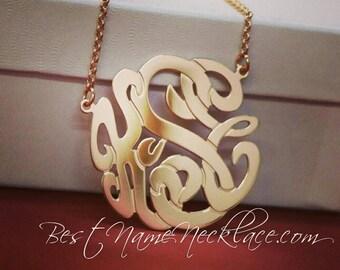 Monogram pendants etsy monogram necklace sterling silver yellow or rose gold plated monogram pendant necklace interlocked aloadofball Choice Image