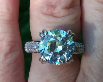 Reserved - Do not purchase - Old European Cut Engagement Ring, Vintage Engagement Ring, CZ Engagement Ring
