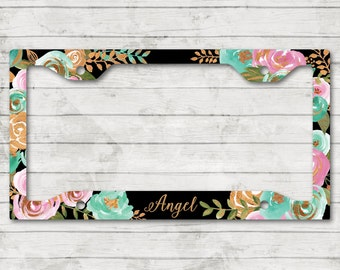 Classy Mint & Gold Floral Plate Frame Personalized Monogrammed License Cover Holder Car Tag  Sweet 16 Cute Car Accessories For Women