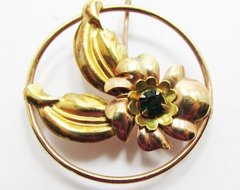 Vintage-Courtly-Jewelry-Gold-Gold Filled-Rhinestone-Pin-Brooch-Pendant-Costume Jewelry-Floral-Women-Gift-Birthday-Birthday Gift-Anniversary