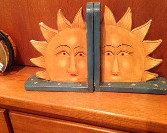 Vintage 1980s / handcrafted bookends book ends / Thailand /Soleils rising / Decor Boho Hipster ethnic
