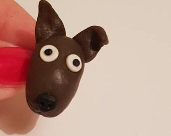 Handmade polymer clay dog pin
