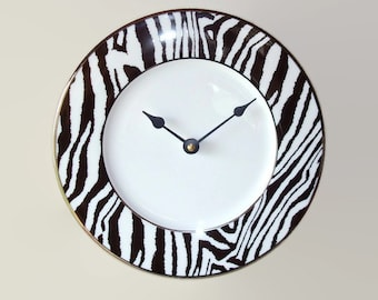 SILENT Black and White Zebra Wall Clock, African Animal Print Clock, Porcelain Plate Clock, Unique Wall Decor, Kitchen Clock  2450