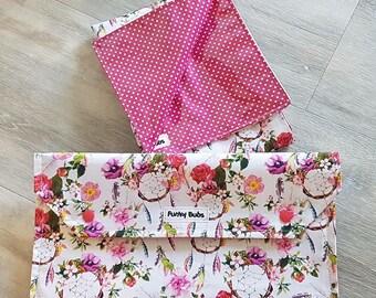 "Nappy Wallet & Waterproof Change Mat. ""Boho Dreamcathers"" Fabric. Beautiful Gift!"