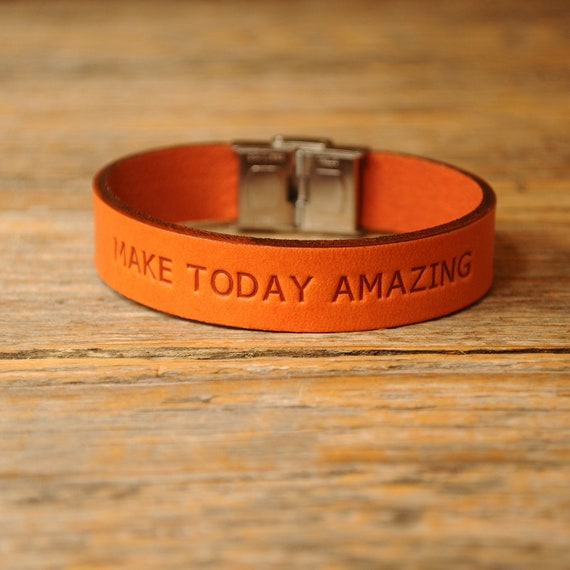 Italian orange leather personalized bracelet, vegetable tanned, engrave phrase, initials or word