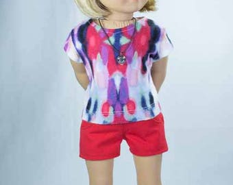 SHORTS in Red with Red Purple Tie Dye TEE Shirt and NECKLACE and Sandals Option for American Girl or 18 Inch Doll