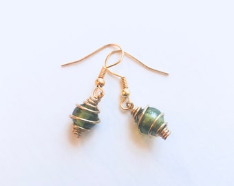 Gold cage earring with sage centre stone