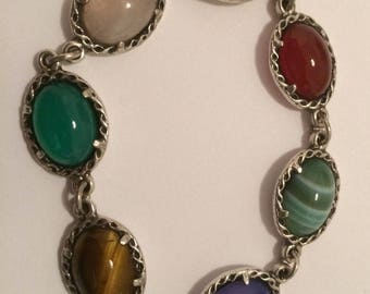 Vintage Sterling Silver and Agate Stone Bracelet 17cm long.