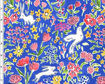 Sommer - Garden Fabric - Blueberry  (Summer Garden Tula) - Sold by the 1/2 Yard