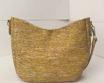 Cork Bag/Hobo Bag/Crossbody Bag/Purse/Pouch with Adjustable Strap- Yellow Straw Cork