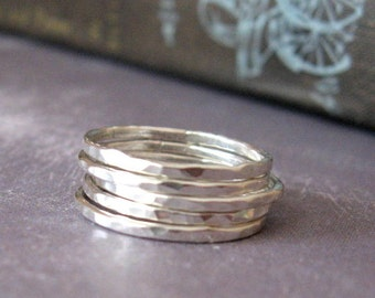 Stacking Rings Sterling Silver Hammered Set of Five