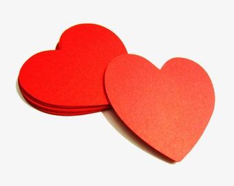 Heart Die Cuts - Set of 25 medium red hearts - Scrapbooking, Embellishments, Tags - 2""