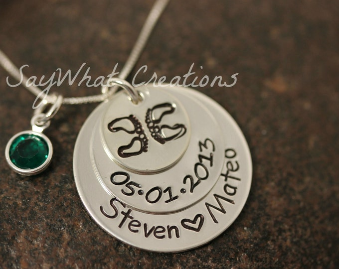 Custom Hand Stamped TWINS Necklace Stacked Three Disks Sterling Silver