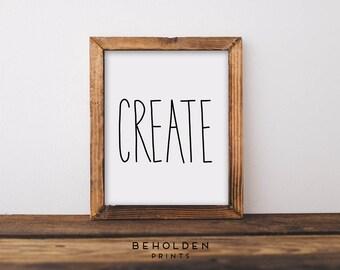 Dorm Wall Art, Dorm Decor, Office Decor, Create, Wall Art, Office Wall Art, Office Wall Decor, Gifts for artists, Friend Gifts, Office Print