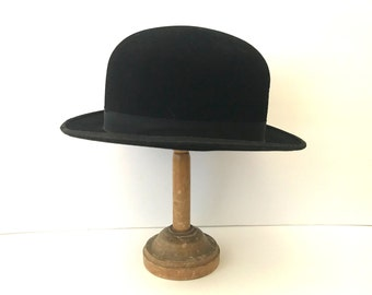 Vintage Antique c. 1900 Edwardian British Black Bowler Hat with Black Grosgrain Ribbon