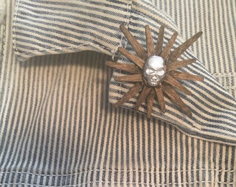 Wooden Flower with Metal Skull Lapel Button