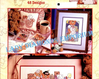 The Big Book of Teddies Cross Stitch Book, 48 Adorable Teddy BearDesigns by Linda Gillum & The Good Natured Girls, Vintage Cross Stitch