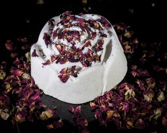 Pure, White Rose Shimmer Bath Bomb Scented in Dragons Breath!