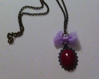 Necklace faux Garnet stone