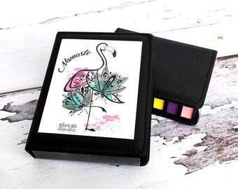 Post-it style sticky note set, post-it box, pink flamingo, teaching gift, illustration Les Bonheurs d'Amélie