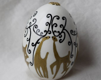 Oil pen Prancing Reindeer with fancy antlers, hand painted duck egg, unique gift, Easter Egg, Christmas Ornament. Made in Michigan USA