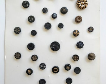 Collector's Card of Beautiful Antique and Vintage Black Glass Buttons, Lot, Collectible, Vintage, Sewing, Display, Craft, Floral