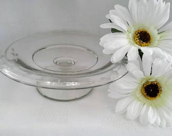 Small Footed Floral Etched Clear Glass Serving Tray