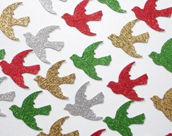 50 Glittered Christmas Dove Confetti scrapbook embellishments - No346
