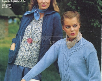 Lady's Jacket and Sweater  DK 32-38in Jaeger 4681 Vintage Knitting Pattern PDF instant download
