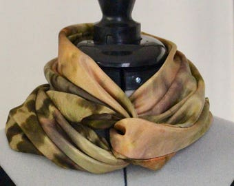"""Tan, Olive, and Gold 30""""x30"""" Silk Scarf.4005"""