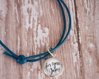 For You Jesus Blue Cord Bracelet, Blessed Chiara Bandano Quote Bracelet, First Communion Gifts for Girls