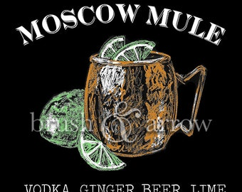 Moscow Mule printable, chalkboard style drawing, instant digital download
