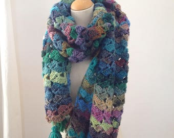 Large crochet scarf-handmade - Mix Turquoise, lime, pink color - very soft and warm touch