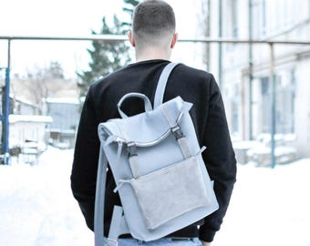 Grey leather backpack, laptop backpack, macbook backpack, 15 inch laptop, men awesome backpack, gift for him, high quality leather-Desert