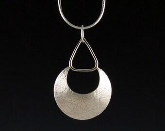 Sterling Silver Geometric Textured Pendant-Handmade