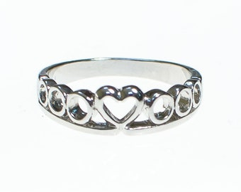 Silver Heart Band Ring Size 8
