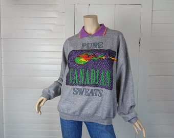 80s Canada Sweatshirt- 1980s Vintage Northern Lights Travel / Souvenir- Large- Puffy Paint- Gray New Wave Punk