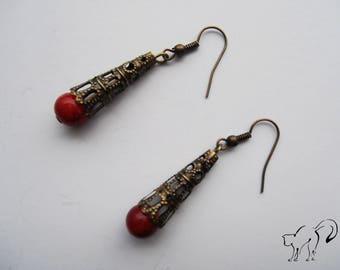 DESTASH earrings bronze Pearl Red
