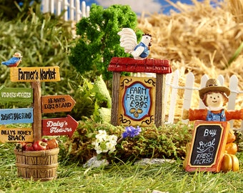 Miniature Garden - Farmer's Market Signs - Set of 3 - Miniature Fairy Garden Supplies