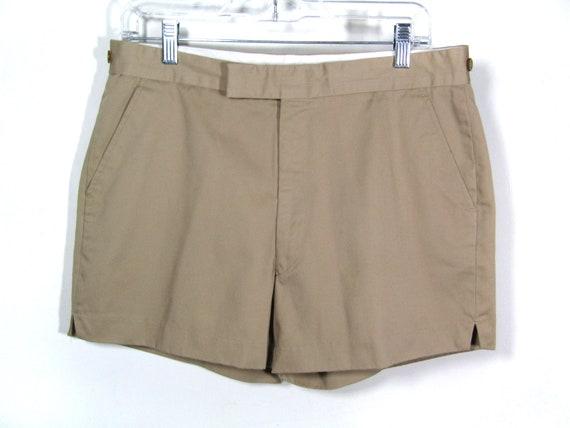 Vintage Mens 70's Tan Khaki Shorts Bermudas S-M 31 32 33 EgEpj1