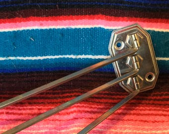 1940s vintage wall mount metal kitchen towel drying rack with three arms