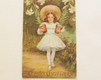 Antique Easter postcard little girl holding pots of Easter Lilies ephemera